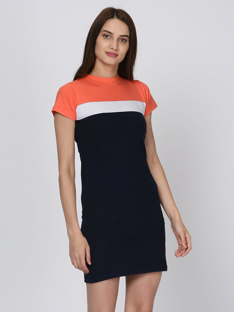RIGO Orange and Blue Bodycon Dress for Women