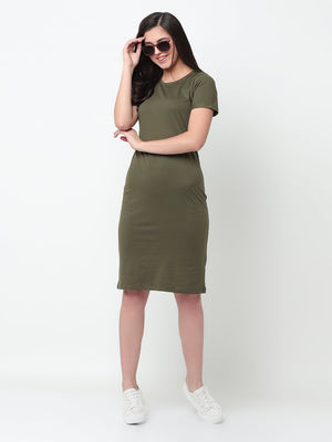 Rigo Olive Green Bodycon Dress For Women