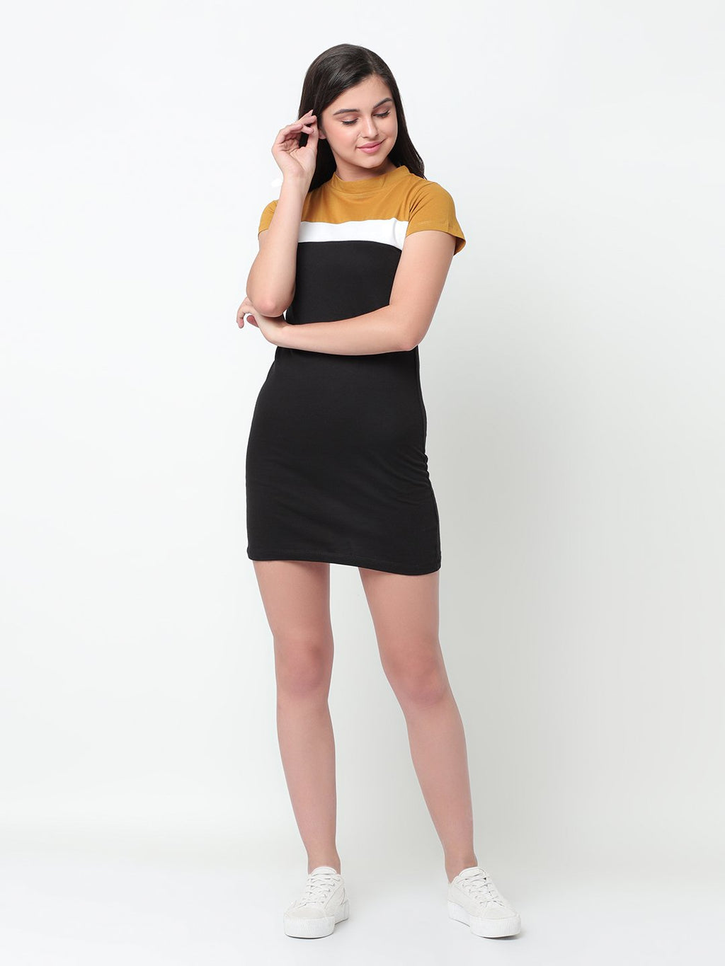 Rigo Mustard White Black Color Block Cut & Sew Body Con Dress For Women
