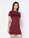 Rigo Women Maroon Floral With Contrast Tape Detail Bodycon Dress
