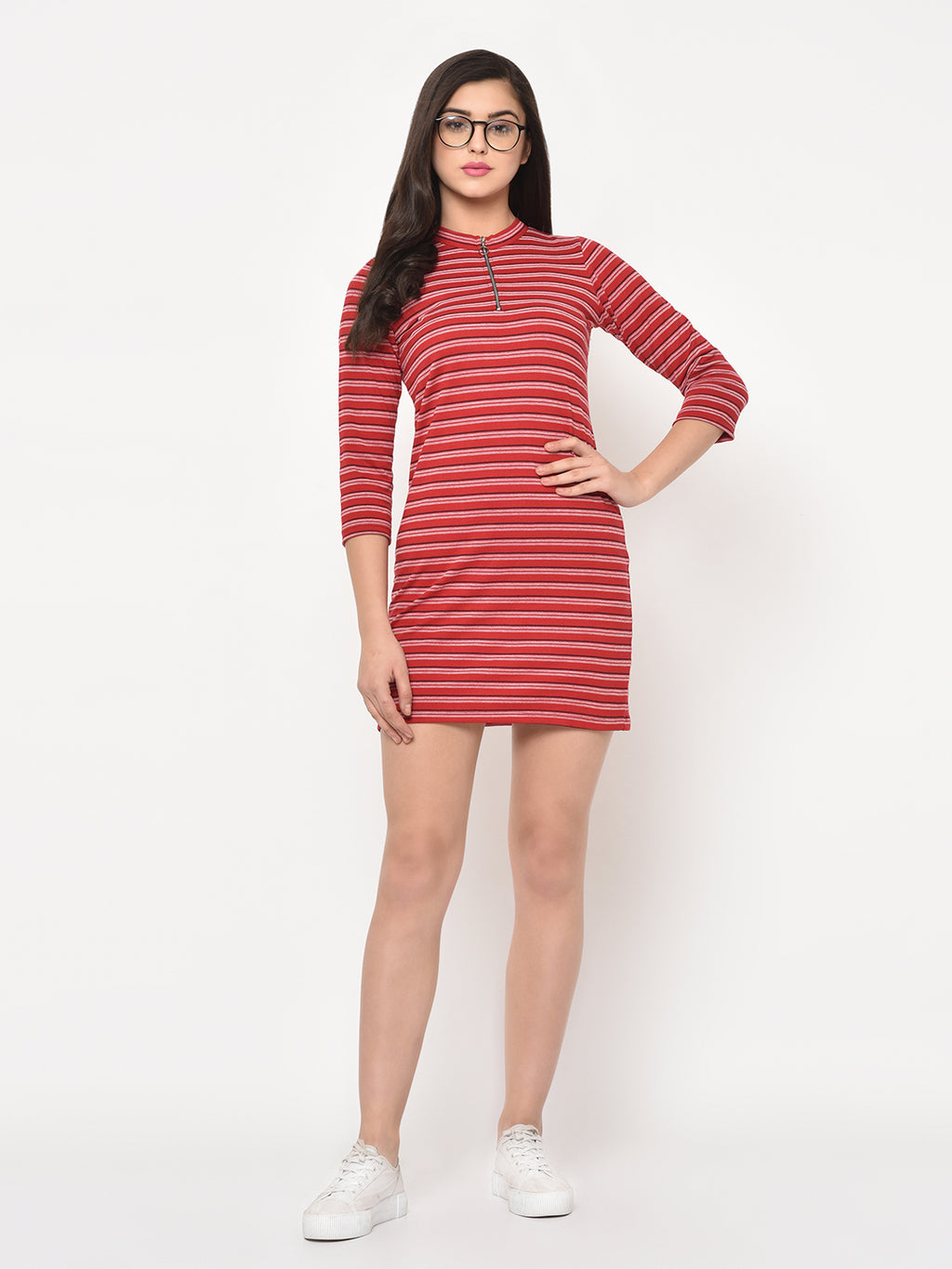 RIGO Red Self Design Stripe Bodycon Dress For Women