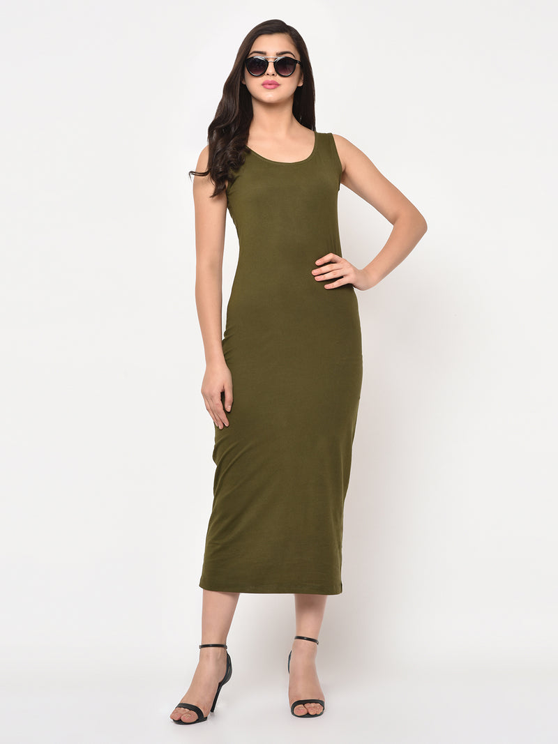 RIGO Olive Green Round Neck Sleeveless Maxi Dress For Women