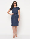 RIGO Blue Slub Scoop Neck Knee Length dress For Women