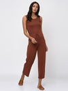 RIGO Rust Brown Sleeveless Jumpsuit for Women