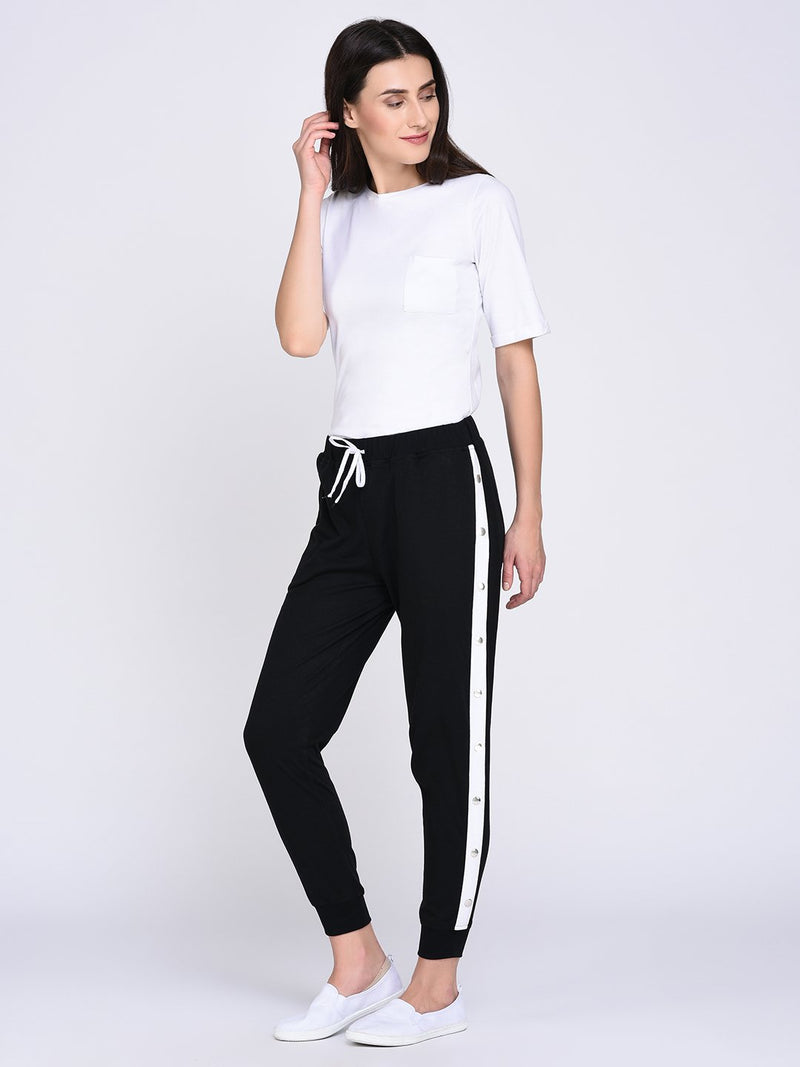 RIGO Contrast Tape Popper Joggers for Women