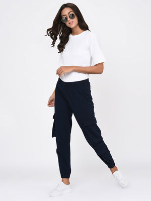 RIGO Navy Blue Cargo Pockets Jogger for Women