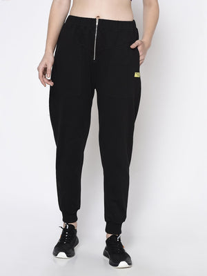 Rigo Women Black Zippered With Patch Pocket Terry Jogger