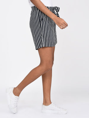 RIGO Navy Blue and White Stripe Shorts with Tie Belt for Women
