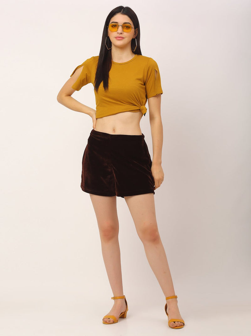 Rigo Women Maroon Velvet High Waist Shorts