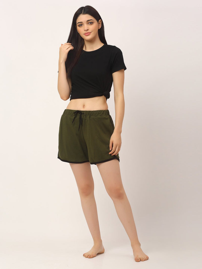 Rigo Women Olive Green Mid Rise Contrast Detail Shorts