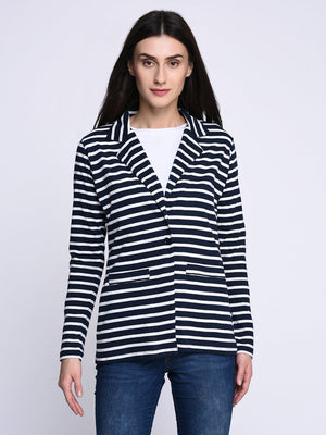 RIGO Navy Blue Striped Jacket for Women
