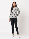 RIGO Grey Terry All Over Polka Dot Sweatshirt For Women