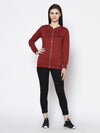 Rigo Women Maroon Stand Collar Full Sleeve Zip-up Fleece Bomber Jacket