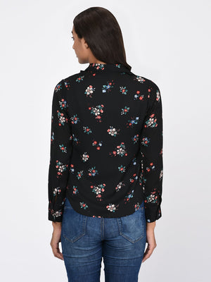 RIGO Floral Print Double Collar Shirt for Women