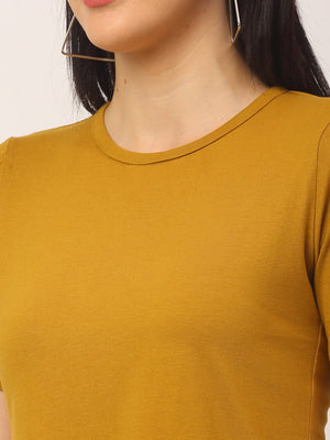 Rigo Women Mustard Round Neck Cotton Cut Half Sleeve T-Shirt