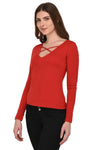 RIGO Red Cage Neck Top