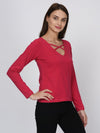 RIGO Pink Cross Neck Detail Top for Women