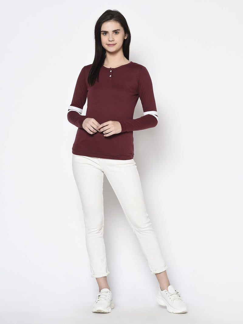 Rigo Women Maroon Striped Sleeve Henley Neck Top