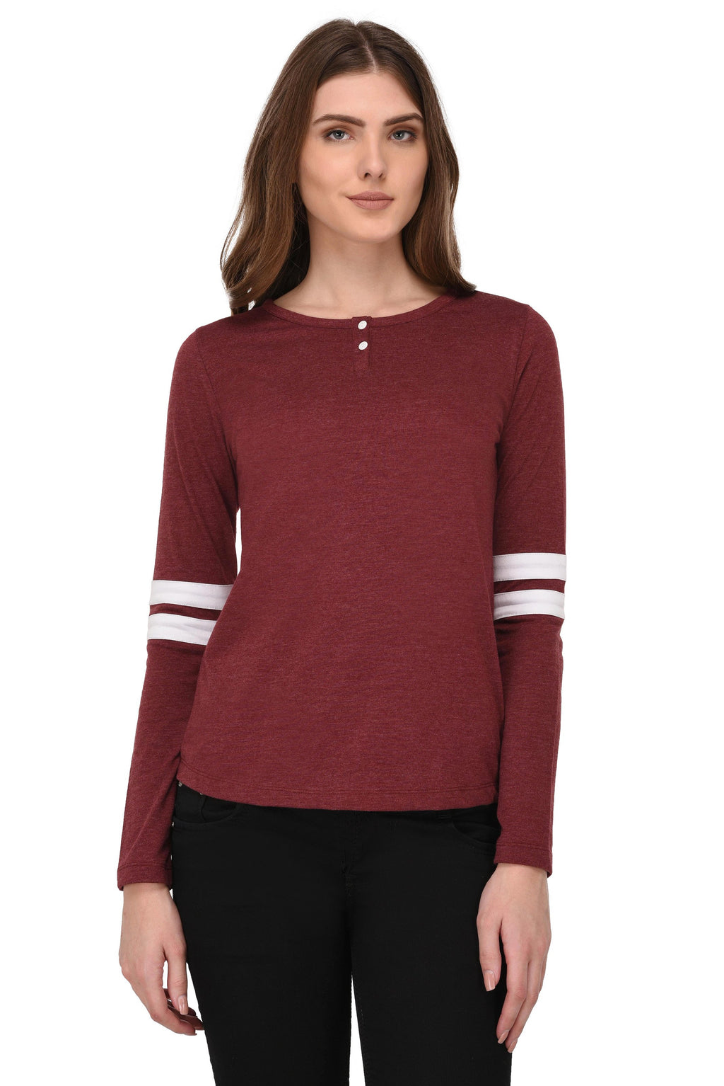 RIGO Maroon Striped Sleeves Henley Neck Tshirt