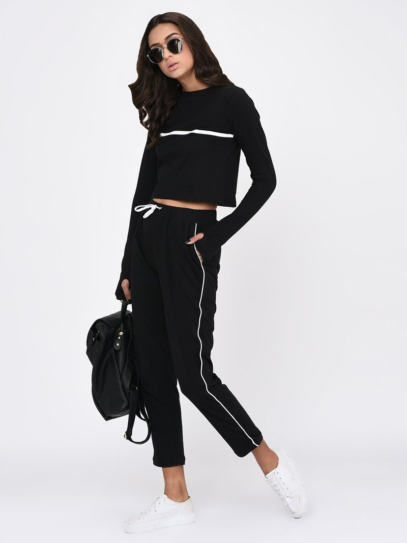 RIGO Black Crop Top with Thumbhole Sleeves for Women