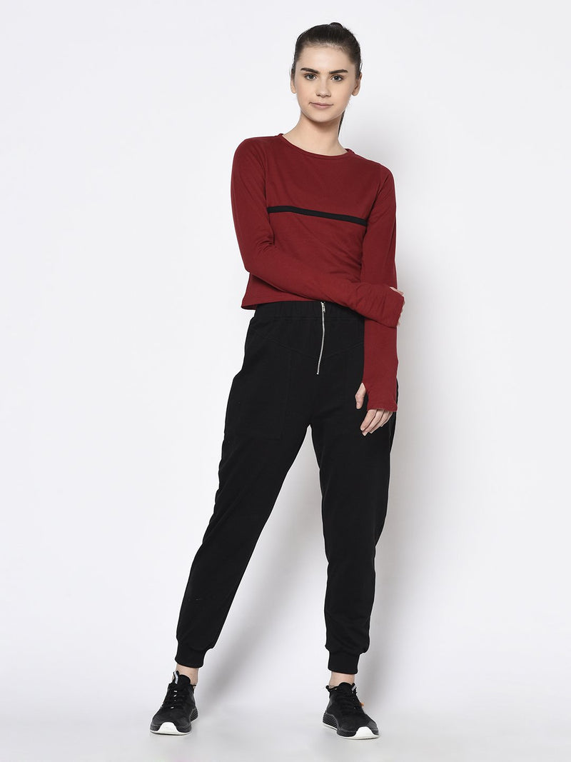 Rigo Women Maroon With Thumbhole Round Neck Crop Top