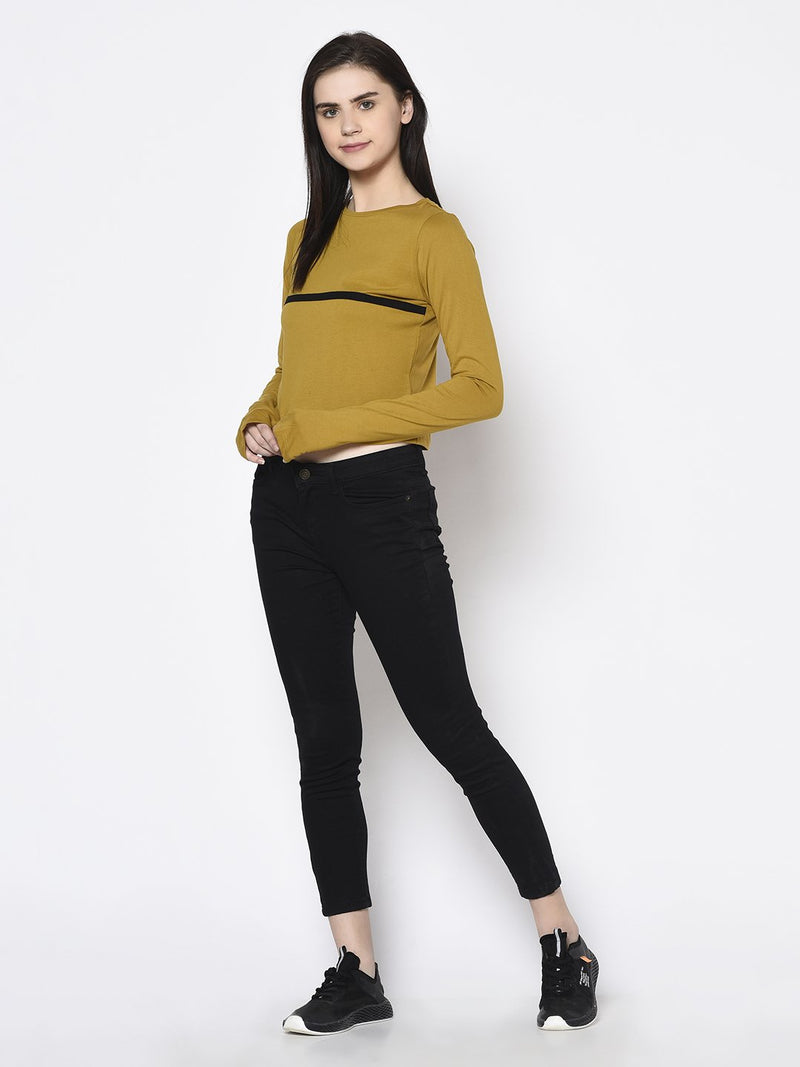 Rigo Women Mustard With Thumbhole Round Neck Crop Top