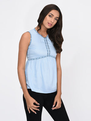 RIGO Blue Gathered Top for Women