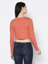 Rigo Women Coral Pink Bottom Detail Round Neck Crop Top