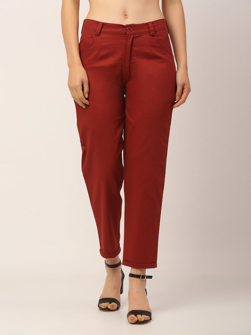 Rigo Women Rust Maroon Twill Trouser