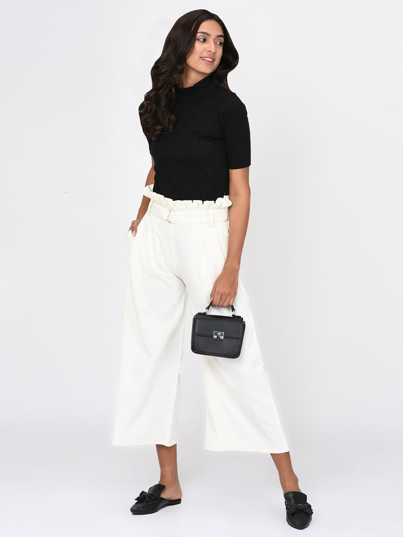 RIGO White Pleated Waist Trousers for Women