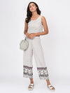 RIGO Border Printed White Trousers for Women