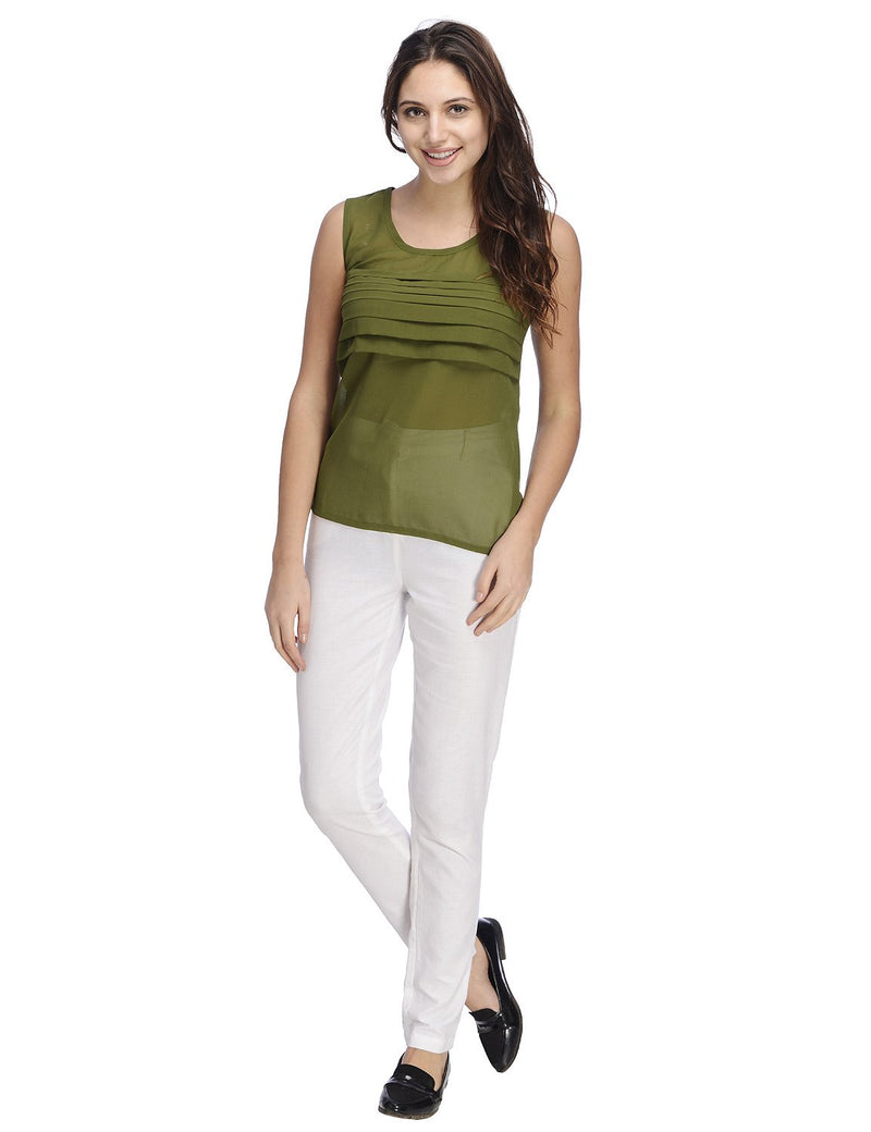 RIGO Olive Pleated Front Top