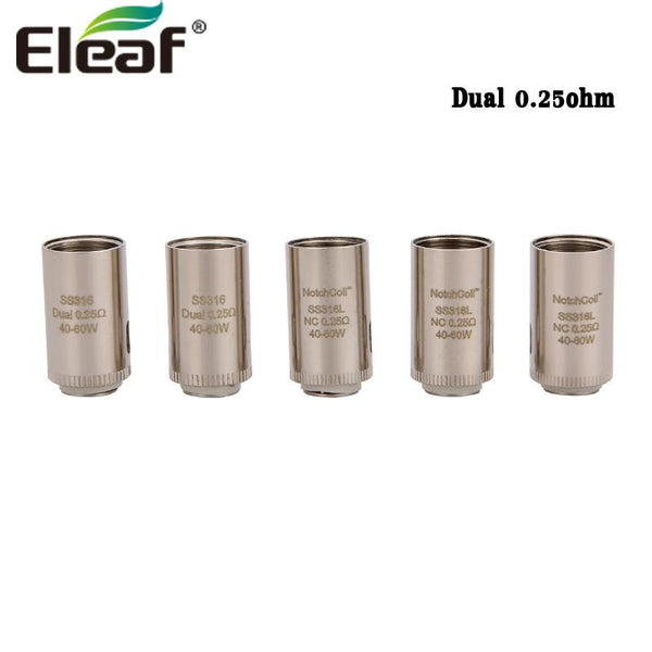 5pcs Eleaf SS316 Dual 0.25ohm Replacement Coil Head