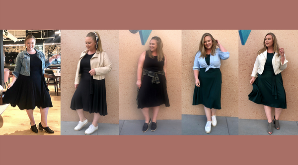 Ashby wears the Everywhere Midi Dress 5 ways.