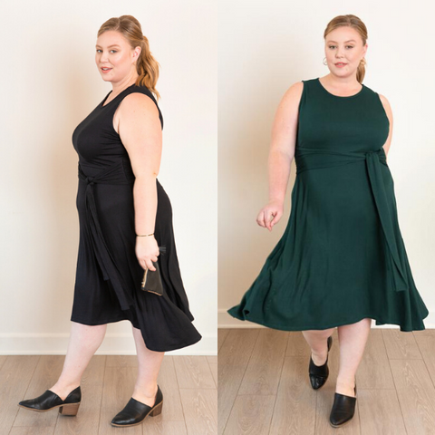 Ashby models the plus-size Everywhere Midi Dress in both black and green.