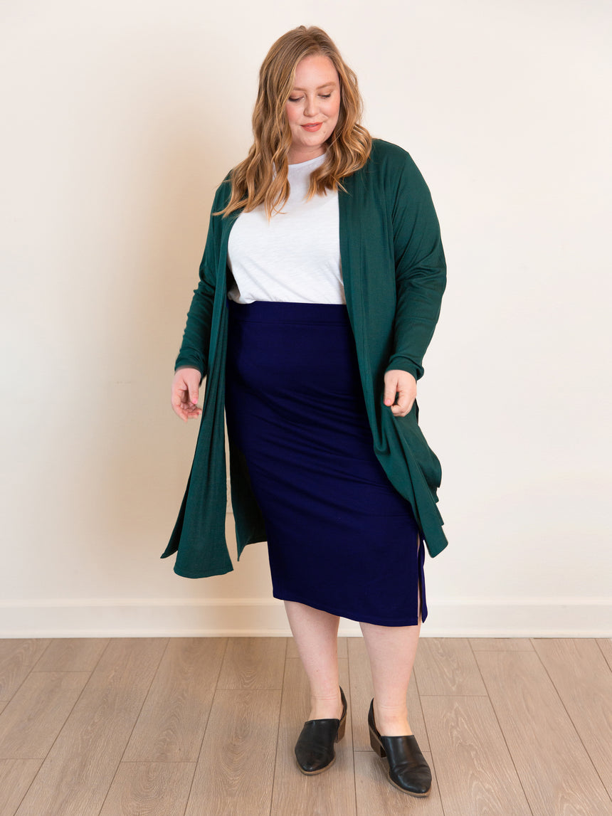 (Final Sale) The French Terry Midi Skirt - Ori Plus Size Online Boutique