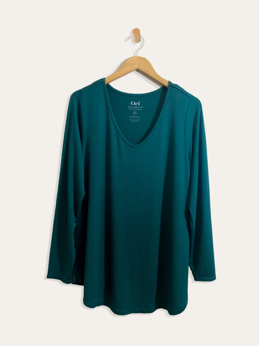 The CoolKnit V-Neck Tee - Long Sleeve - Ori Plus Size Online Boutique