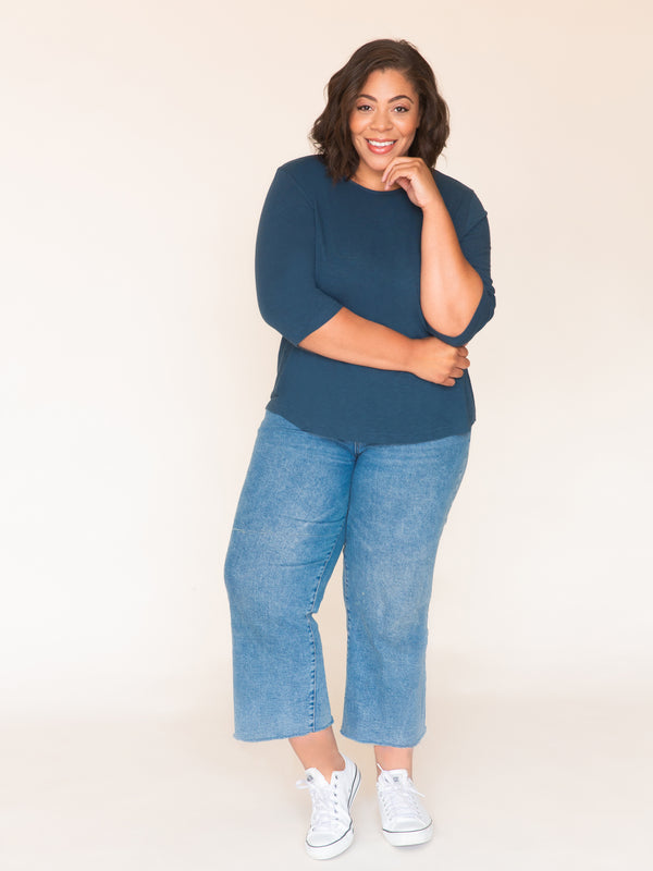 The Perfect Tee  ·  Three Quarter Sleeve - Ori Plus Size Online Boutique