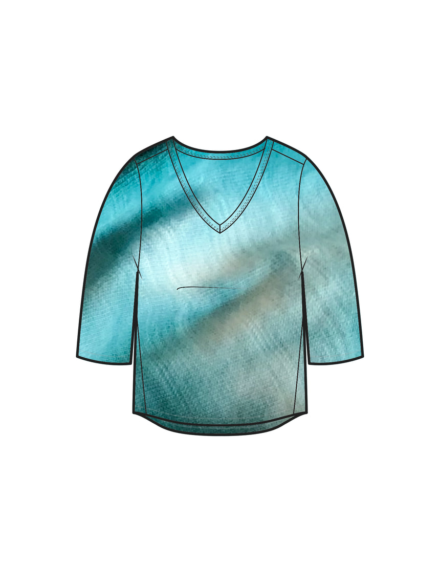 The Tie Dye CloudSoft V-Neck Tee, Three Quarter Sleeve - Ori Plus Size Online Boutique
