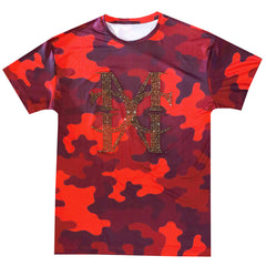 Camo logo red crystal T-shirt