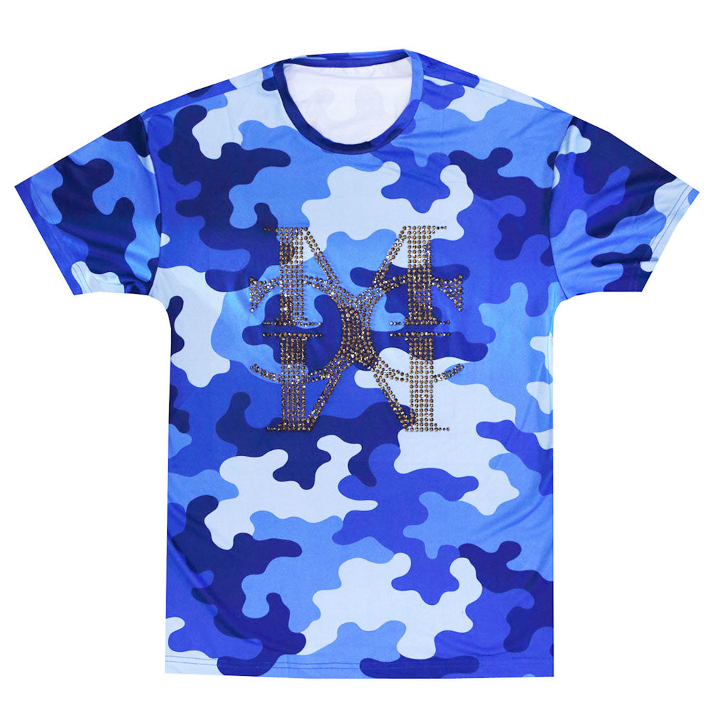 Camo logo blue crystal T-shirt