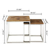 """Eclisse Quadrato"" Reclaimed Elm Wood 2 Piece Nesting Tables"