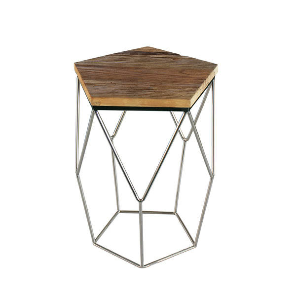 """Pentagono Lato"" Reclaimed Elm Wood Side/End Table"