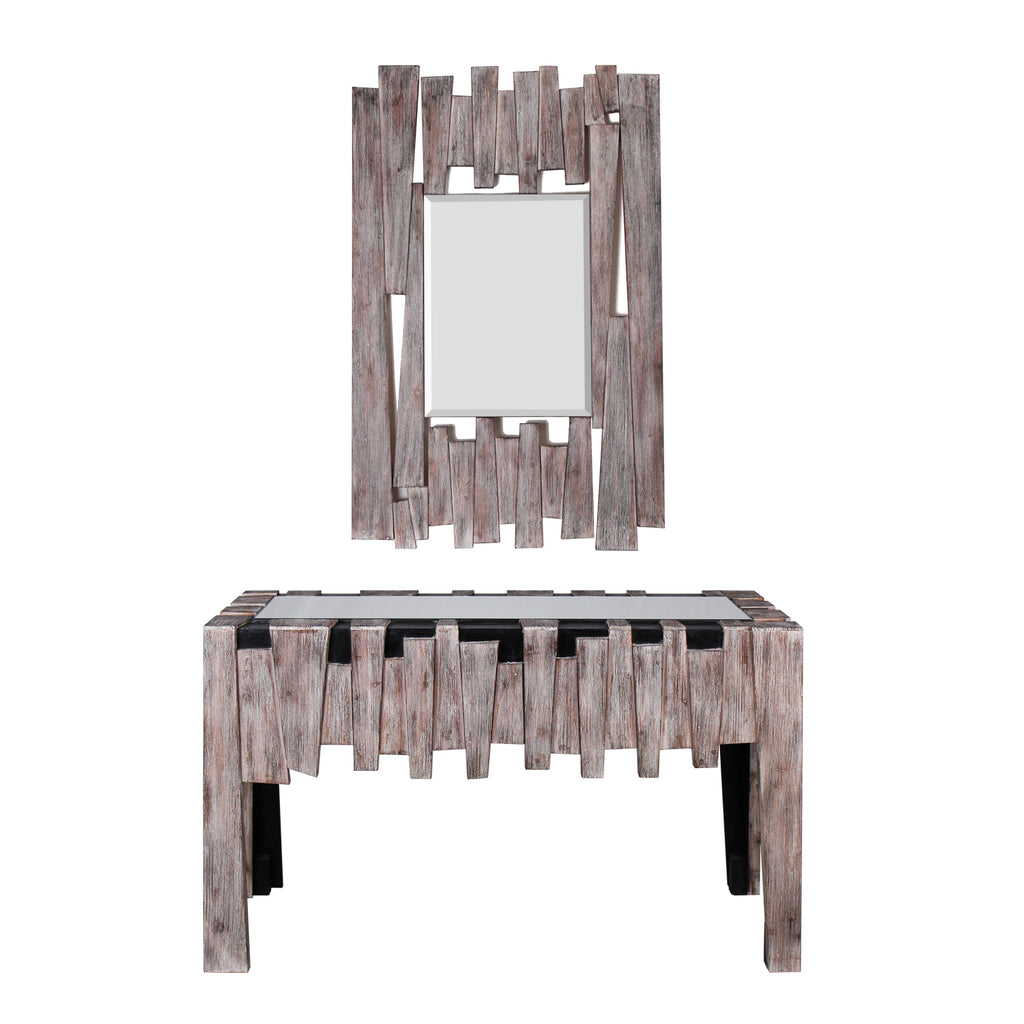 """Fiaba"" Beveled Wooden Accent Mirror and Mirrored Glass Top Console Table, Set"
