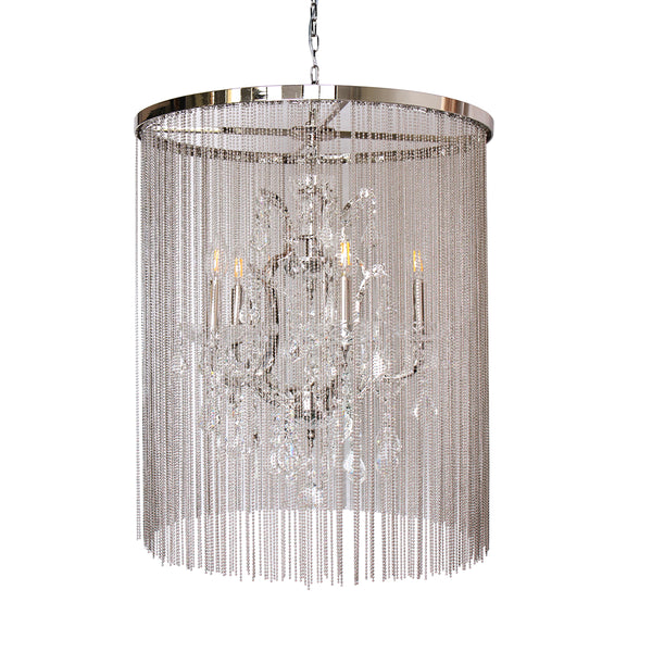 """Cascata I"" 5-Bulb Candle-Style Chandelier with Crystals"