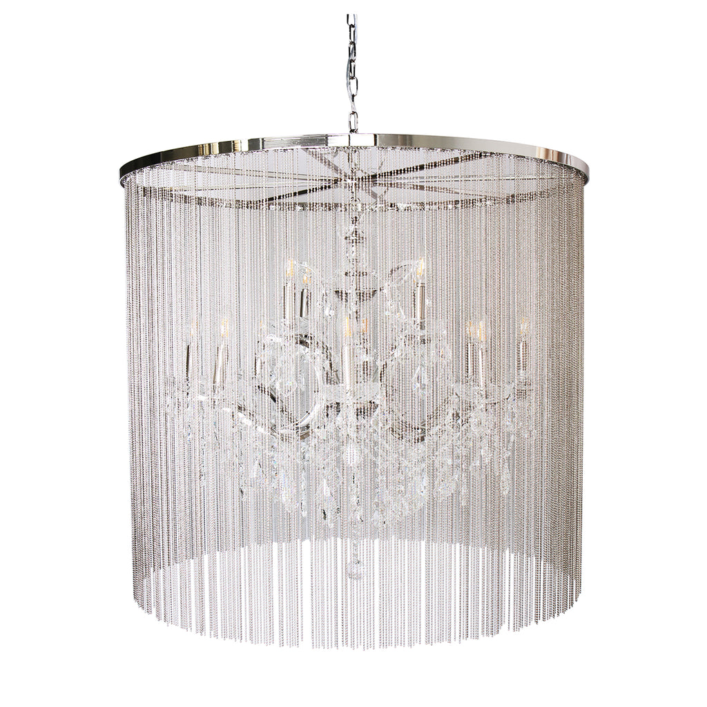 """Cascata II"" 12-Bulb, 2-Tier, Candle-Style Chandelier with Crystals"