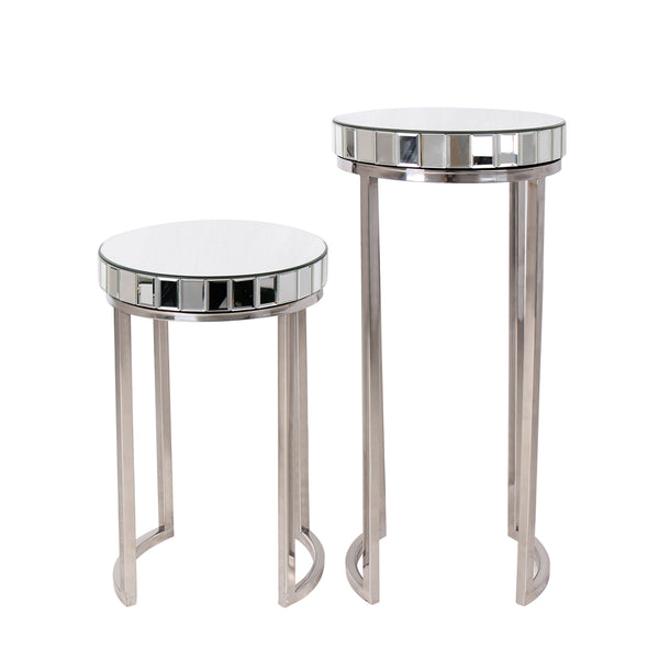 """Argento"" Mirrored Round Side/End Tables (Set of 2)"
