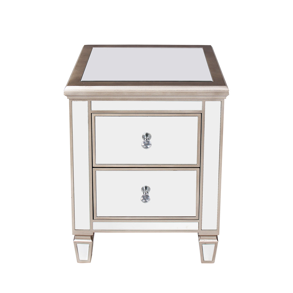 Argento Mirrored 2 Drawer Bedside Nightstand