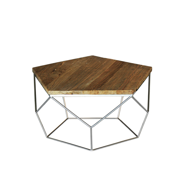 """Pentagono"" Reclaimed Elm Wood Coffee Table"