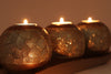 Polyresin 3 Piece Candle/Tealight Holders with Tray